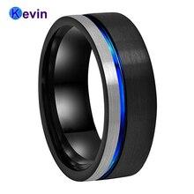 التنغستن خاتم الرجال النساء الزفاف العصابات أسود أزرق اللون شقة الفرقة 8 مللي متر