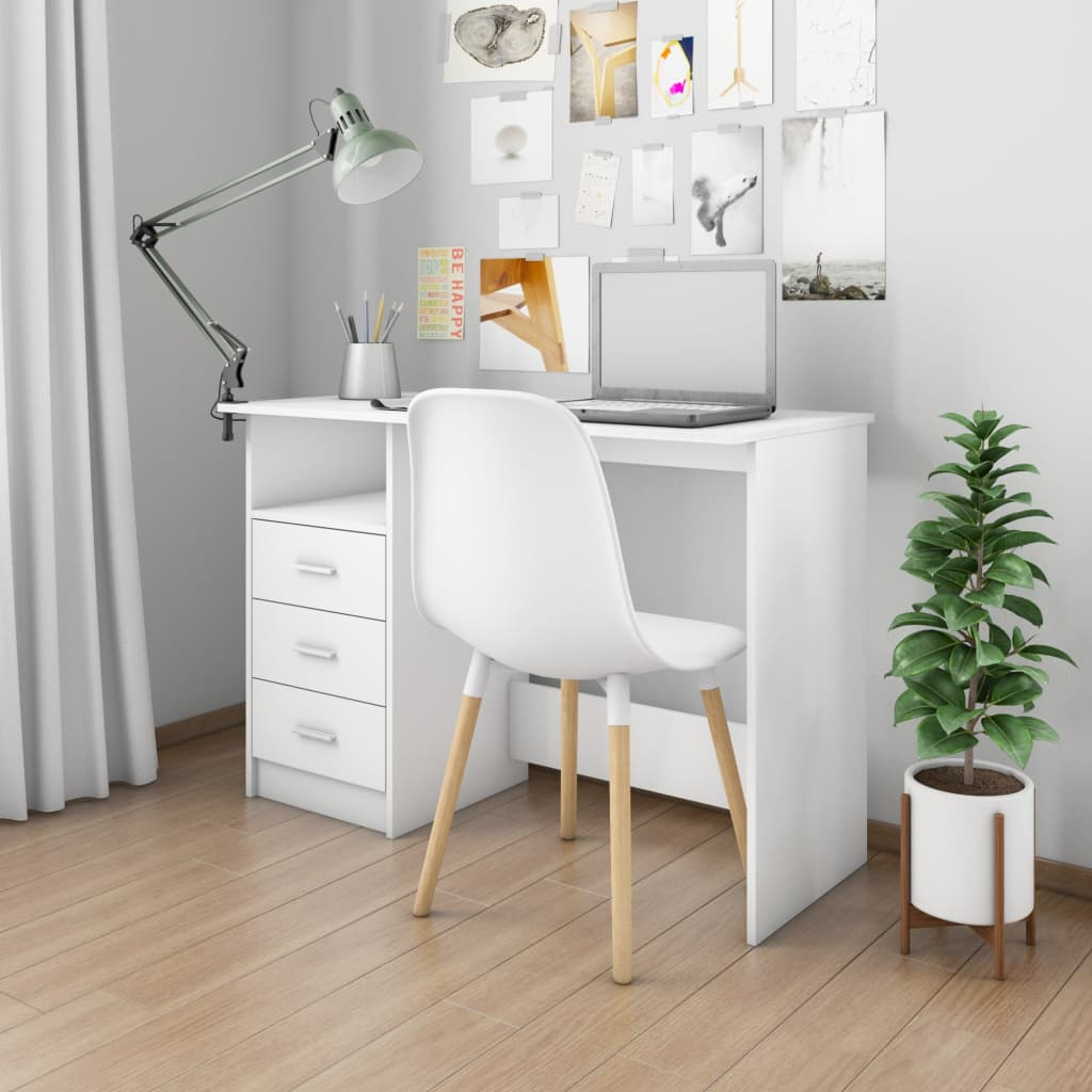 VidaXL Desk With Drawers White 100x50x76 Cm Chipboard