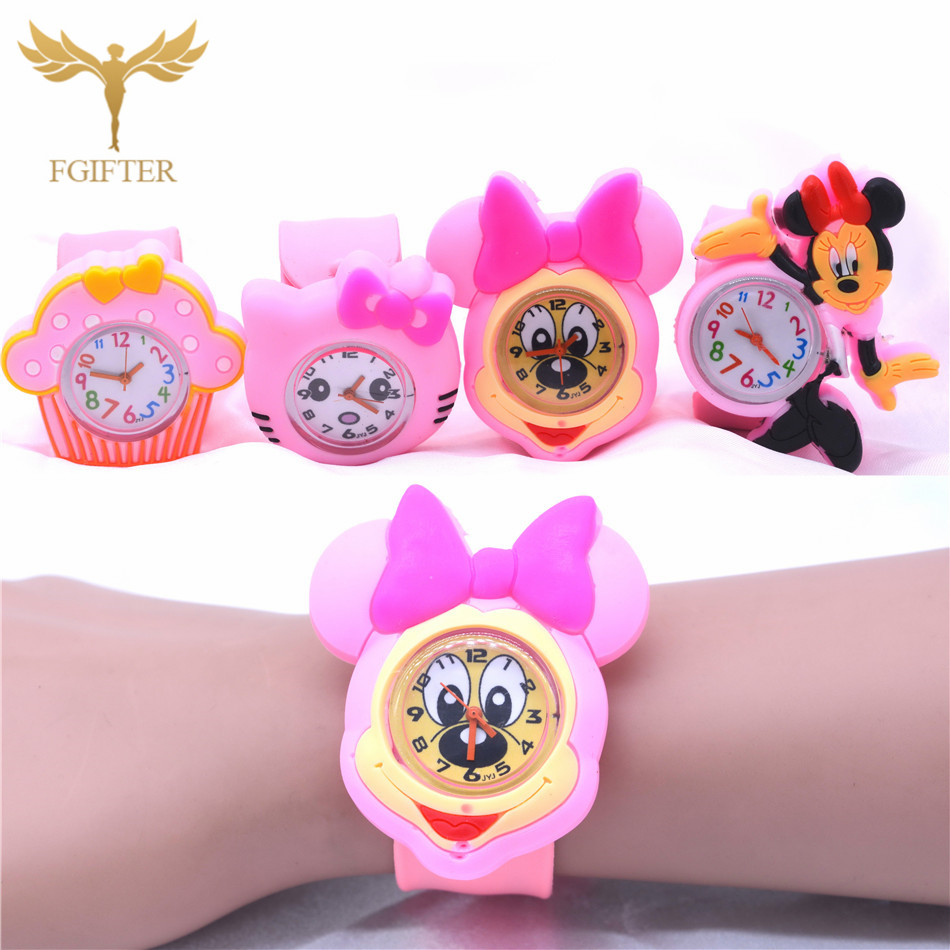 Pink Girls Watch 3d Cartoon Rubber Watches Child Gift 21cm Silicone Belt Quartz Clock For Kids