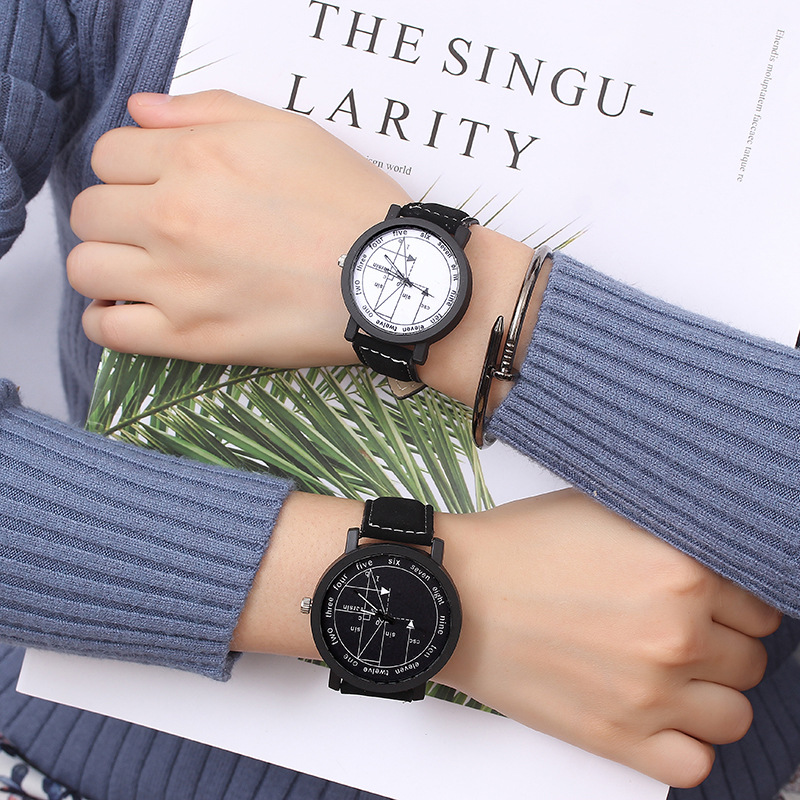 Explosion Youth Popular Couple Watch Boys Girls Personality Geometry Black Leather Belt Students Lovers Watches For Men Women