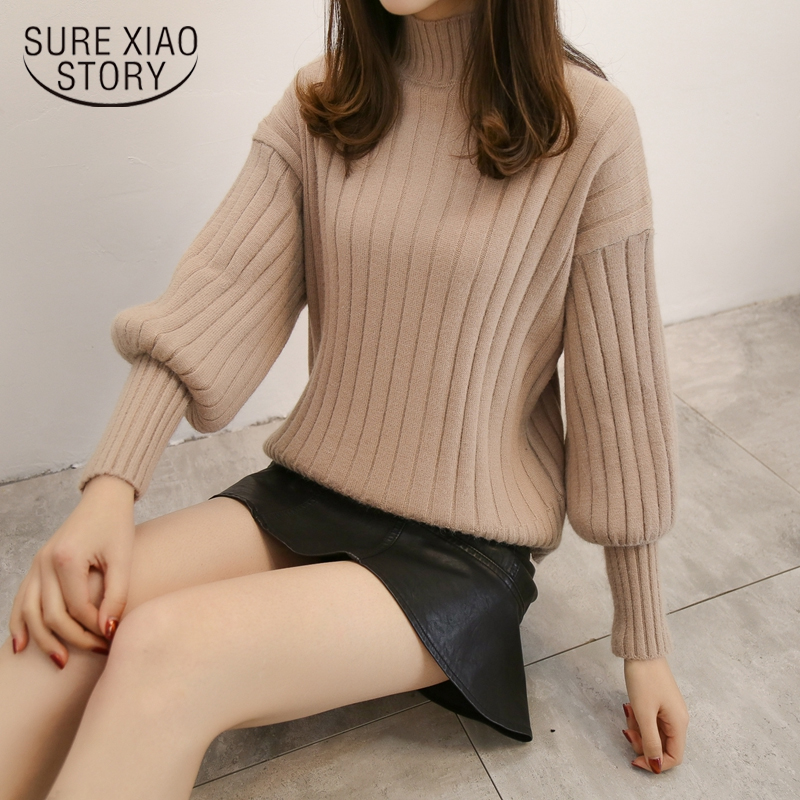 Truien Dames Winter2019 Bottoming Shirt For Women Flat Knitted Lantern Sleeve Half Turtleneck New Pullover Loose Tide 7010 50