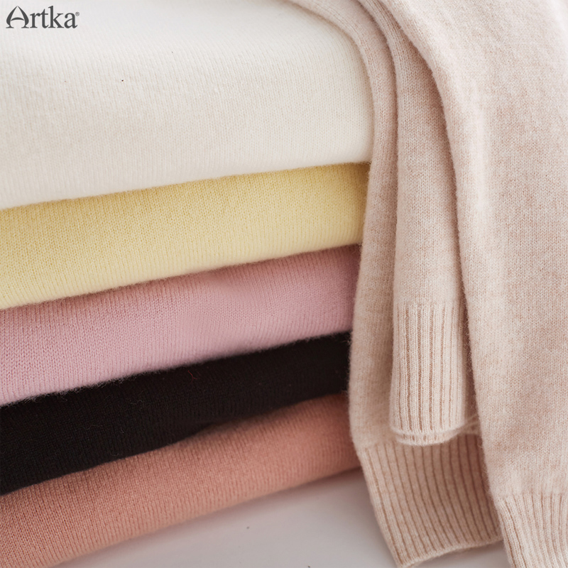 ARTKA 2019 Autumn Winter New Women Sweater Multicolor 100% Pure Wool Sweater O-Neck Pullover Soft Wool Knitted Sweaters YB11697D