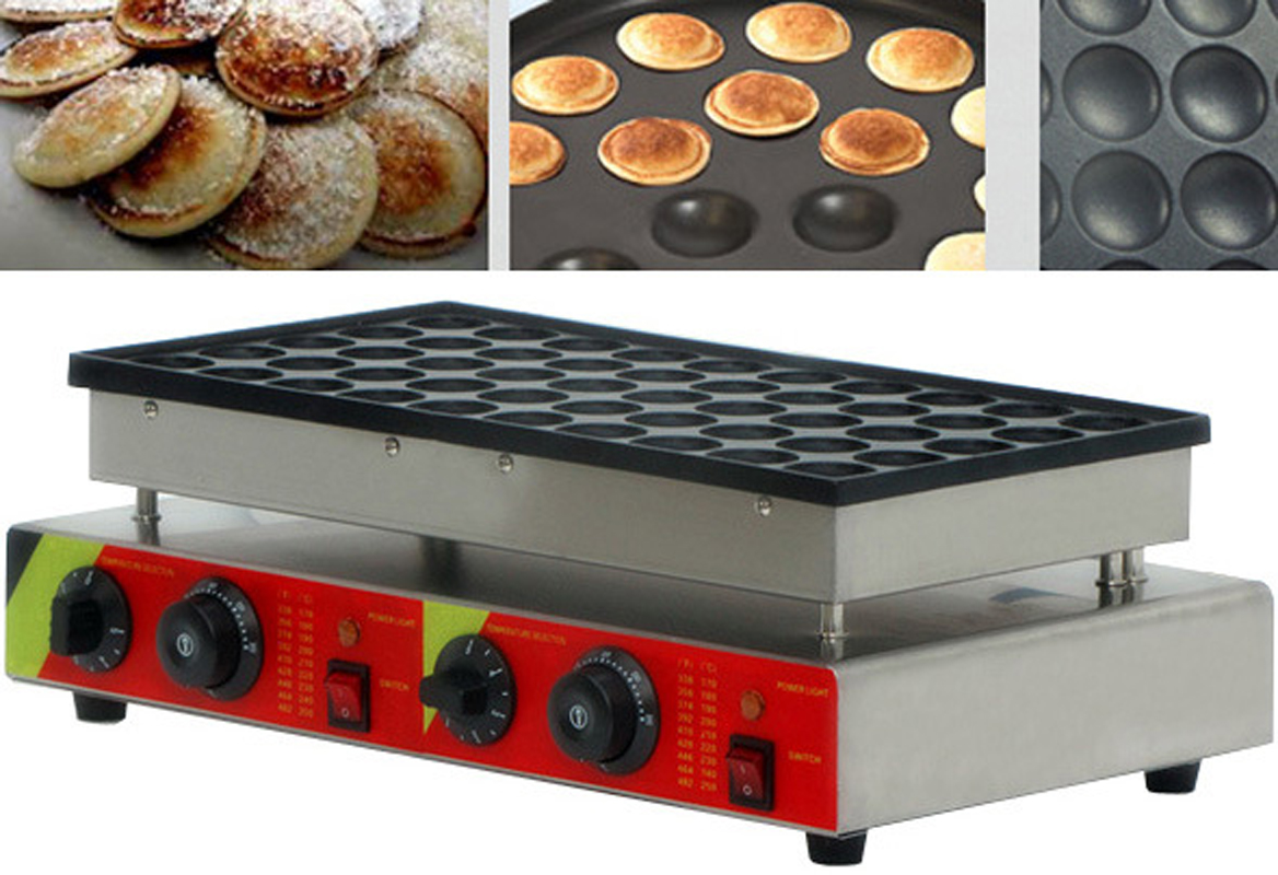 50Holes Commercial Electric Mini Dutch Pancake Maker Iron Baker 110v 25Holes