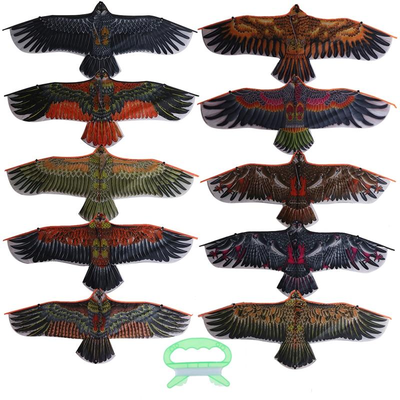 1.1m Flat Eagle Kite With 30 Meter Kite Line Children Flying Bird Kites Windsock Outdoor Toys Garden Cloth Toys For Kids Gift
