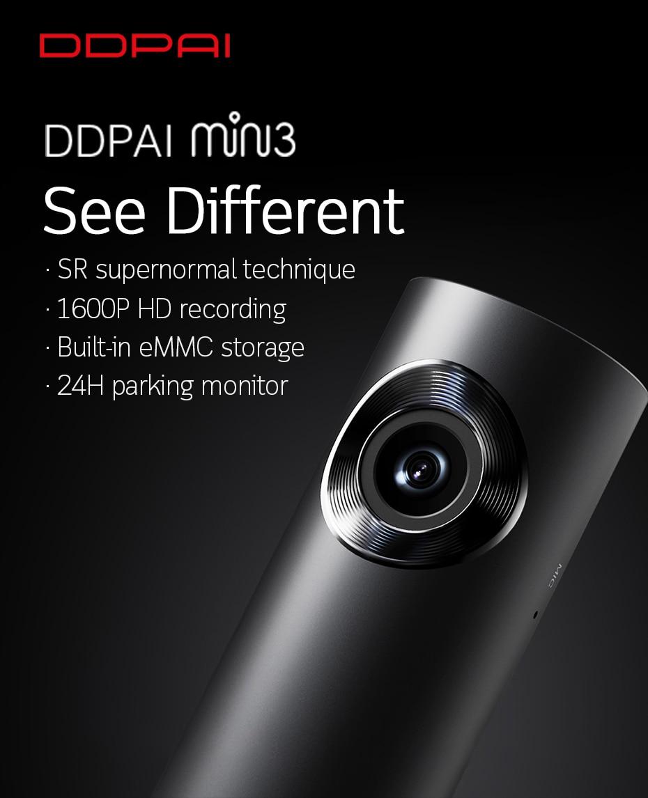 DDPai Mini3 1600P Wifi Dash Cam DVR Recorder Built-in 16GB eMMC Storage 2GB RAM