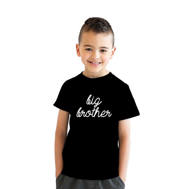 Big Brother mektuplar baskı çocuklar T Shirt erkek gömlek Casual çocuk yürümeye başlayan giysi komik en Tees çocuk Anouncement Tee damla gemi