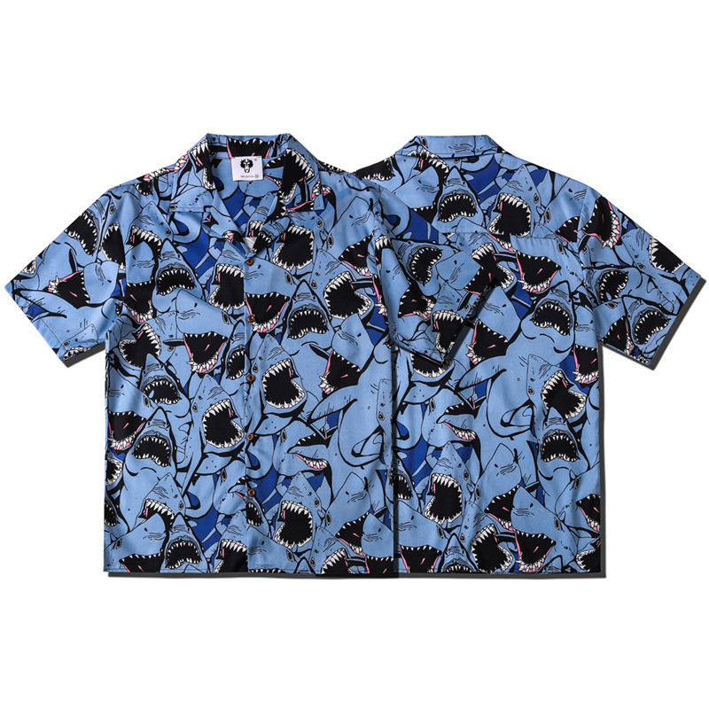 Man Short Sleeve Shirt Street Hiphop-Style Casual Loose-Fit Cartoon Shark Printed Blue Short-sleeved Shirt Men's