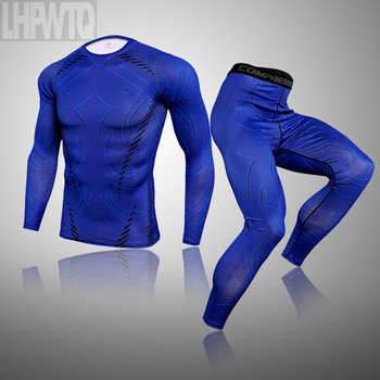 3-piece sets Compression Suits Men's Quick Dry set Clothes Sport Running MMA jogging Gym work out Fitness Tracksuit clothing 19