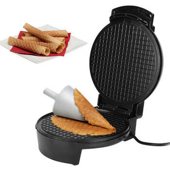 Electric Crispy Egg Roll Maker Omelet Sandwich Iron Crepe Baking Pan Waffle Pancake Oven DIY Ice Cream Cone Machine EU Plug 220V stainless steel electric waffle maker commercial single head ice cream cone baker machine waffle cone egg roll making machine