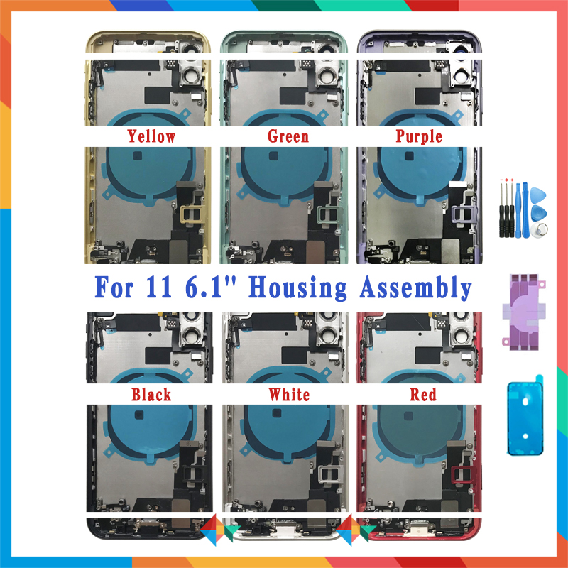 Full Back Cover For iphone 11 Pro Max / 11 Housing Battery Door Middle Chassis Frame Housings Assembly Door Rear with Flex Cable