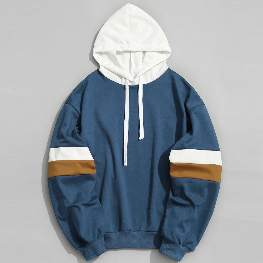 Hip Hop Mens Hooded Windbreaker Jacket Autumn 2019 Casual Vintage Color Block Loose Track Hoodie Jacket Coats Streetwear 9.11