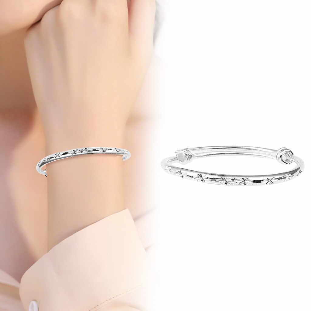 Stal kobiety urok srebrny Tone gwiazda ze stali nierdzewnej wzór bransoletka prezent urok bransoletka dla kobiet słynna damska biżuteria
