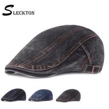 SLECKTON 100% Cotton Denim Berets Cap for Men Casual Peaked Hat Retro Flat Cap Striped Newsboy Caps Cowboy Hat for Unisex Gorras