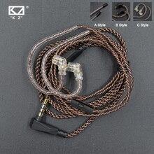 KZ Cable ZSN Pro reemplazo Original, Cable con conector de 3,5mm, 2 pines, 0,75mm, cobre libre de oxígeno para CCA C12 KZ ZST/ZS10/ZSX/AS16