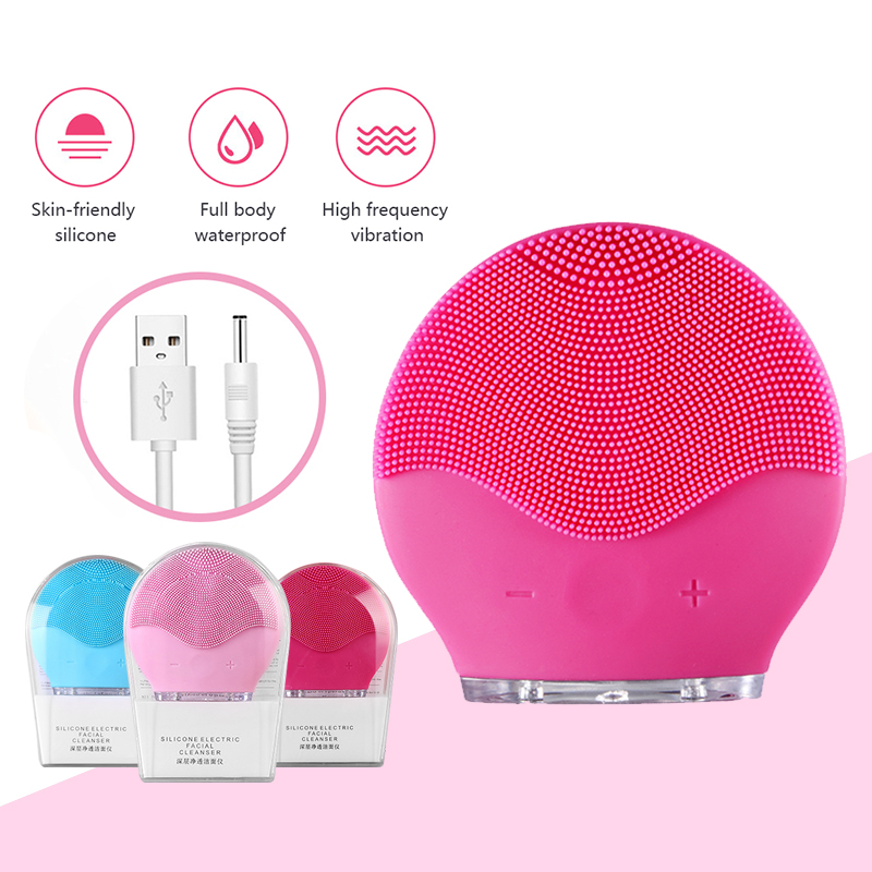 Ultrasonic Vibration Electric Facial Cleansing Brush Foreoing Luna Face Cleaner Skin Blackhead Remover Pore Cleaner Face Massage