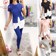 Women Two Piece Outfits Patchwork Style O-Neck Short Sleeve Top and Elastic Wais