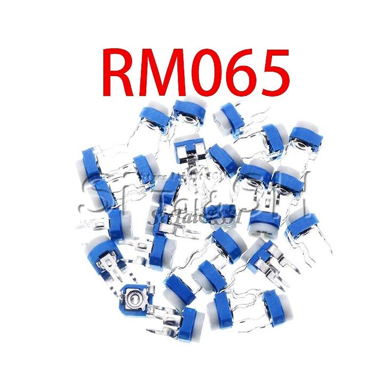 50pcs RM065 RM-065 100 200 500 ohm 1K 2K 5K 10K 20K 50K 100K 200K 500K 1M ohm Trimpot Trimmer Potentiometer Variable Resistor