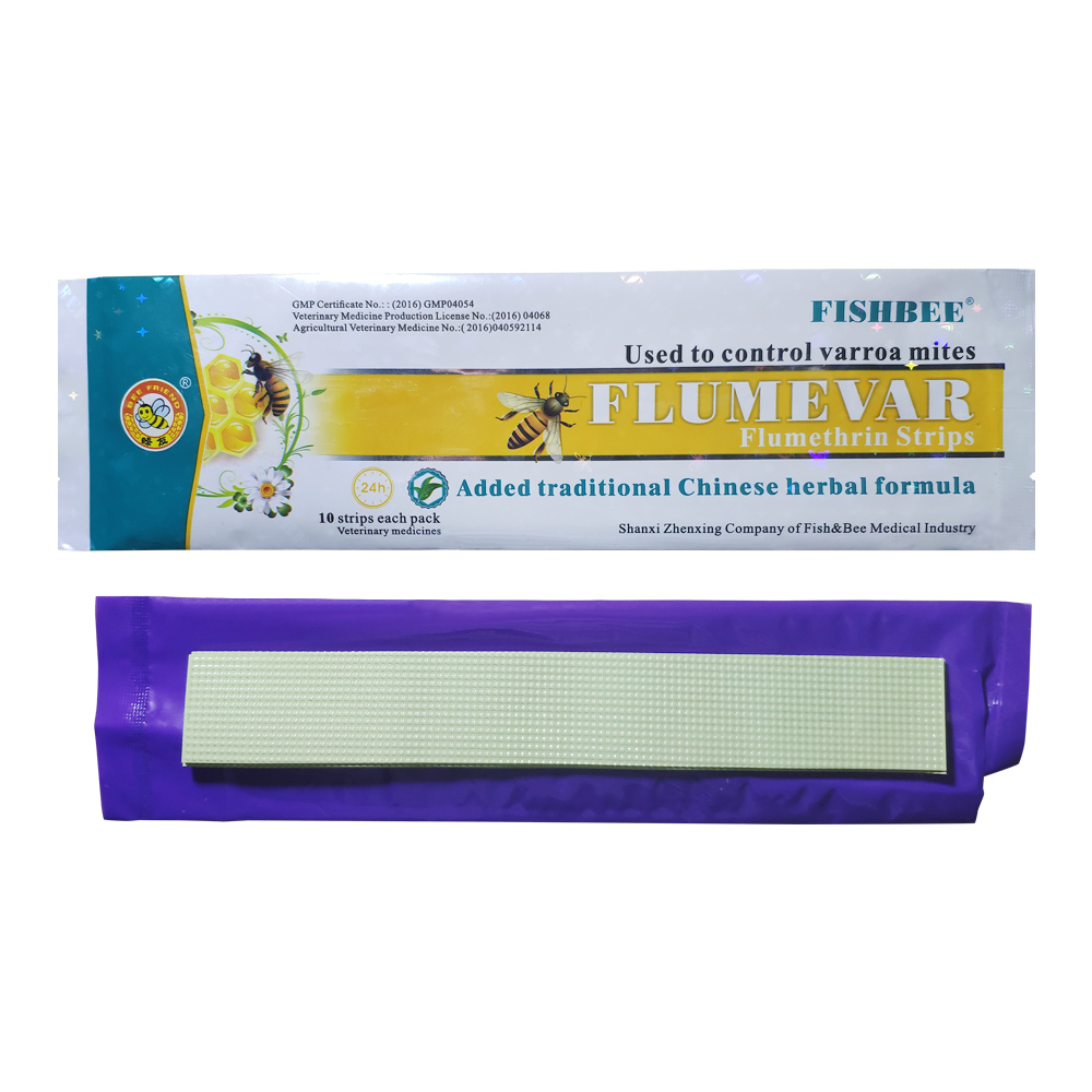 FLUMEVAR flumethrin Strip 10 strips varroa mite killer Fishbee with Chinese herbal medicine extracts|Varroa Mite Control| |  - title=
