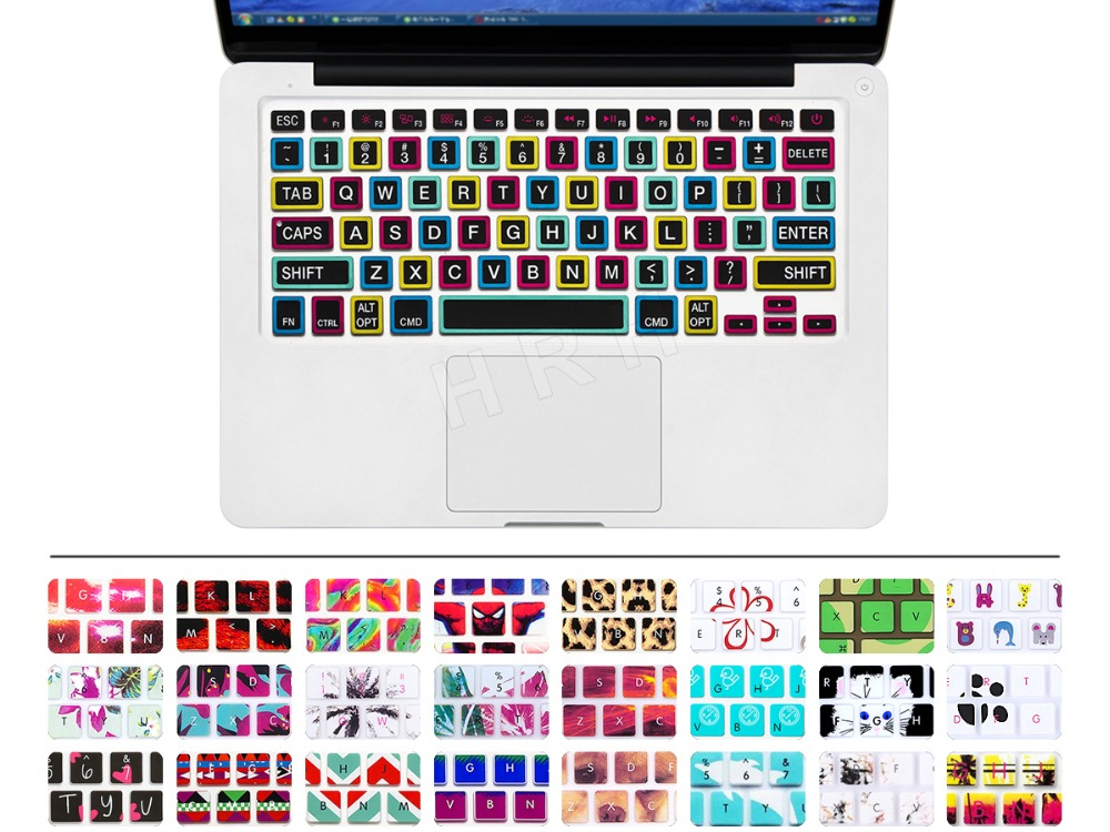 for Pro 13 15 inch Air 13 Retina US Silicone Keypad Skin Protector Flower Decal Rainbow Keyboard Cover