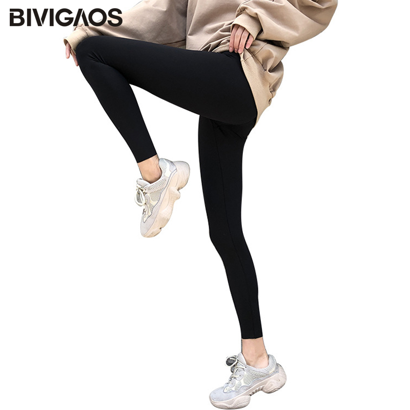 BIVIGAOS New Women Sharkskin Black Leggings Thin Workout Stretch Sexy Fitness Leggings Skinny Legs Slimming Sport Leggings
