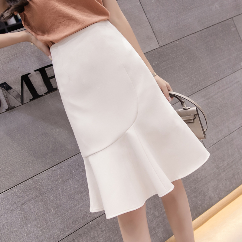 Женская элегантная юбка годе средней длины, демисезонная профессиональная юбка с высокой талией и оборками, 2021