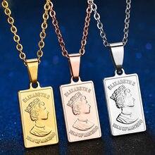 Vintage aço inoxidável charme rainha elizabeth pingente colar de prata rosa cor ouro geométrico quadrado collier para presente feminino