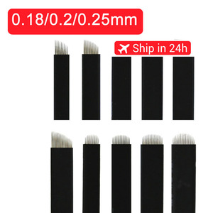 0.18mm 7 9 11 12 14 U shape Permanent Makeup Eyebrow flex Tattoo Needles Blade For 3D Microblading lamina blade Agulhas Tebori