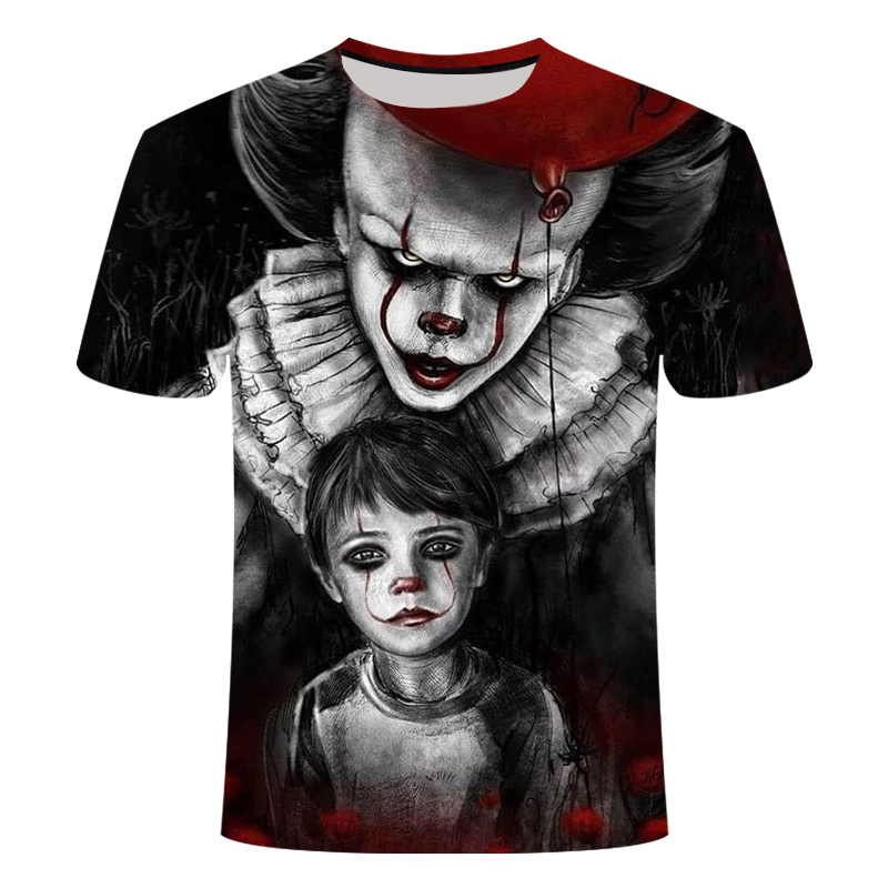 2019 летняя Новинка клоун 3D печать футболка мужская ужас Повседневная мужская футболка клоун с коротким рукавом Веселая Футболка Азиатский