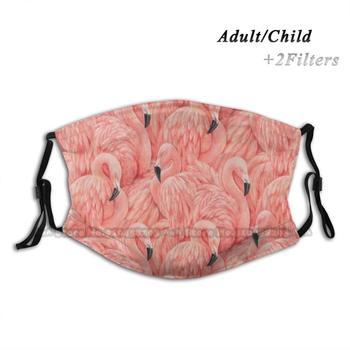 Copie De Pink Flamingo Vintage Tropical Print Face Mask Fashion Anti Dust Pollution Washable