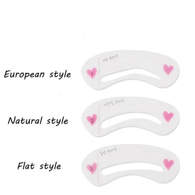 3 Pcs Reusable New Eyebrow Template Stencil Tool Makeup Eye Brow Template Shaper Make Up Tool Eye Brow Guide Template DIY Beaut 2