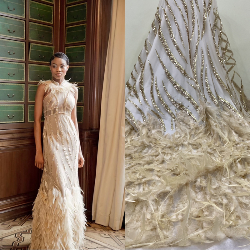 African Tulle Lace Fabric With Sequins High Quality Nigerian Lace Noble 3D Feather Lace Fabric Handmade DIY Decoration For Woman