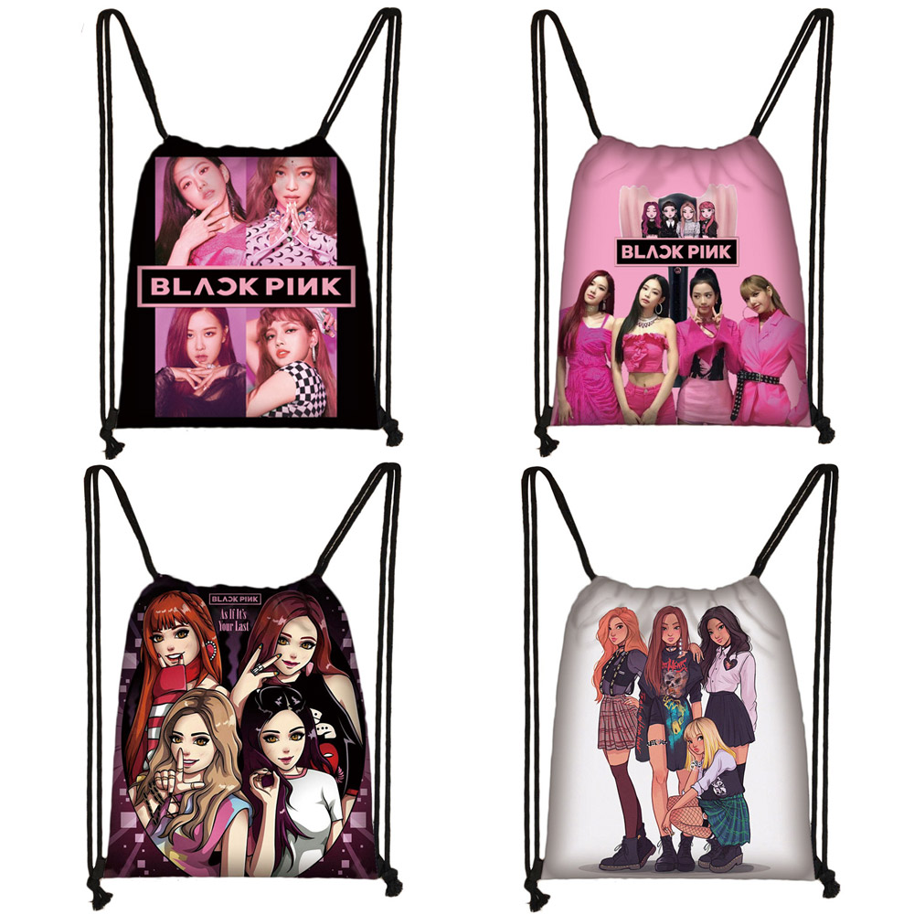 Blackpink Kill This Love Drawstring Bag Women Fashion Storage Bag Harajuku LISA JISOO JENNIE ROSE 90s Cartoon Backpack Girls Bag