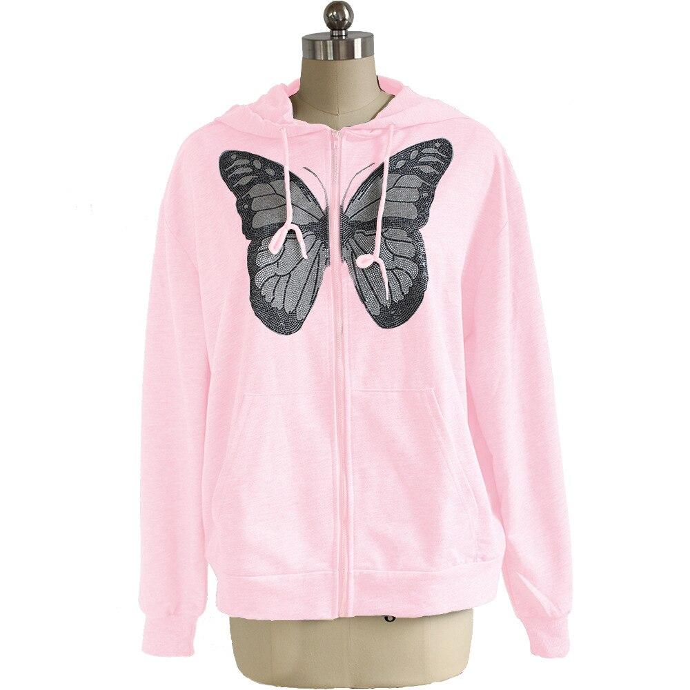 Kawaii Butterfly Zip Up Long Sleeve Summer Sweatshirts 2021 Spring Oversized Hoodies Women Cotton Black Streetwear GrayTops 13