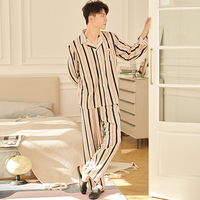 New Trousers Suit Summer Men Casual Faux Silk Striped Thin Pajamas Male Viscose Comfortable Silky Pijamas Oversized Home Clothes