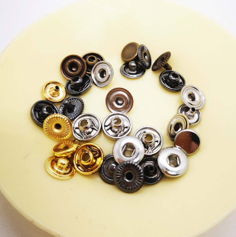 100sets Metal brass Press Studs Sewing <font><b>Button</b></font> Snap Fasteners Sewing Leather Craft Clothes Bags handmade 6/<font><b>8MM</b></font> 31/633/655/201/203 image