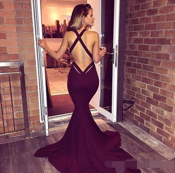 Купить с кэшбэком Simple Burgundy Prom Dresses 2019 robe de soiree Sexy Mermaid Backless Sleeveless Long Party Evening Gowns Formal evening dress