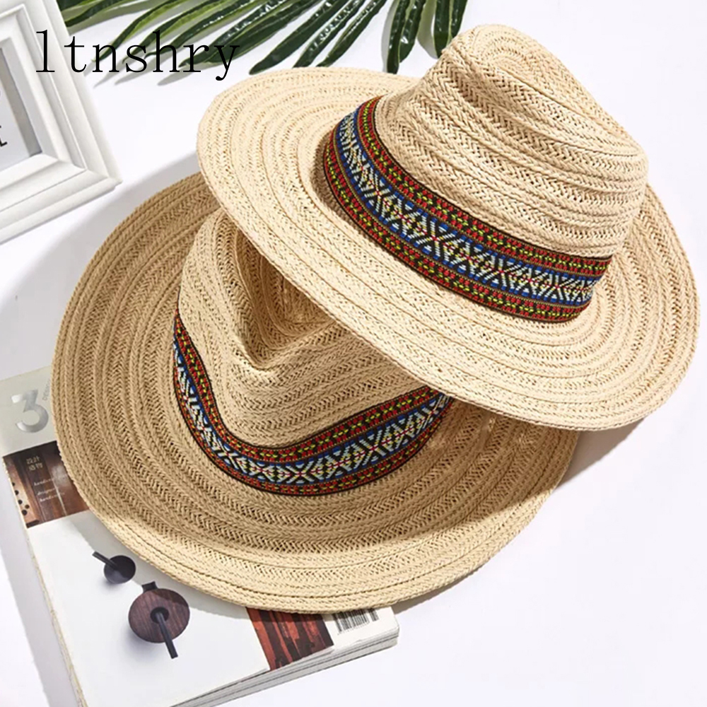 New Vintage Summer Wide side sun hat straw mens fedora cowboy large brim panama hats for women with Beach