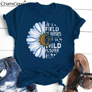 T Shirt Women Tees Sunflower Print O-neck Short Sleeve T-shirt Summer Loose Casual Brand Tops Clothing 2020 New Camiseta Mujer