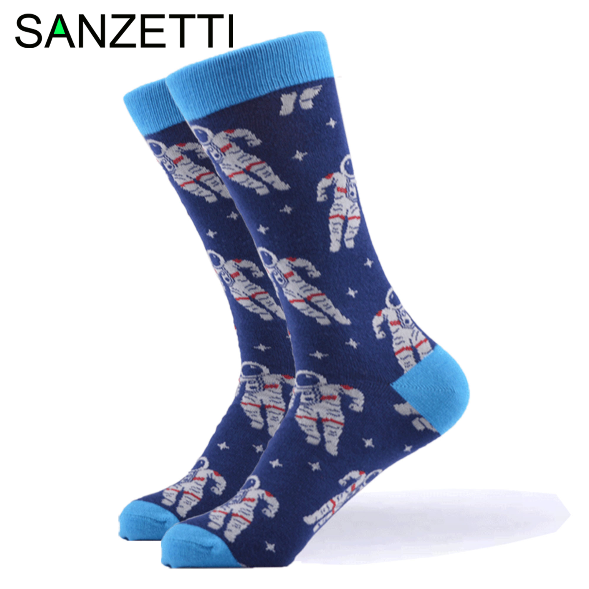 SANZETTI 1 Pair New Happy Socks High Quality Men's Colorful Comfortable Combed Cotton Fun Space Novelty Gift Wedding Dress Socks