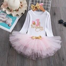 Bebê menina um ano vestido bonito 1 primeiro aniversário outfit menina vestido de bebê roupas de verão rendas menina festa tutu outfits 3pcs roupas