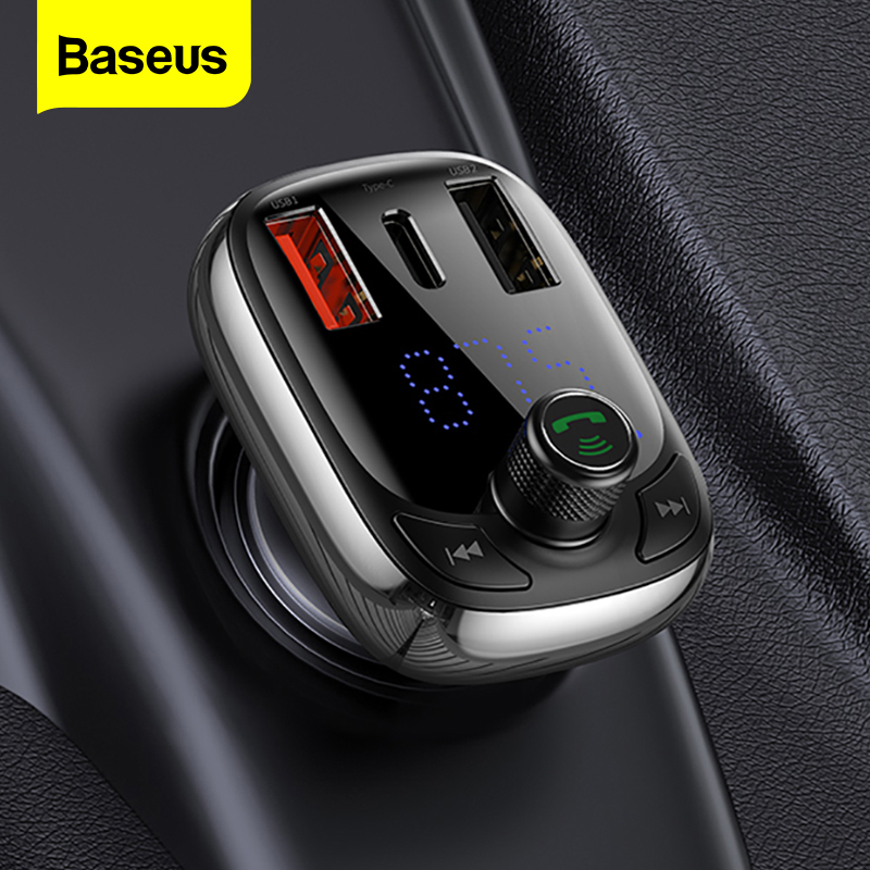 Baseus FM Transmitter Quick Charge 4.0 3.0 QC4.0 QC Fast USB Car Charger Handsfree Bluetooth 5.0 Car Kit MP3 Player FM Modulator