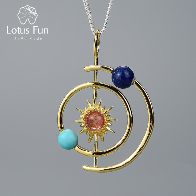 Lotus Fun Real 925 Sterling Silver Fine Jewelry 18K Gold Creative Solar System Pendant without Necklace for Women Christmas Gift