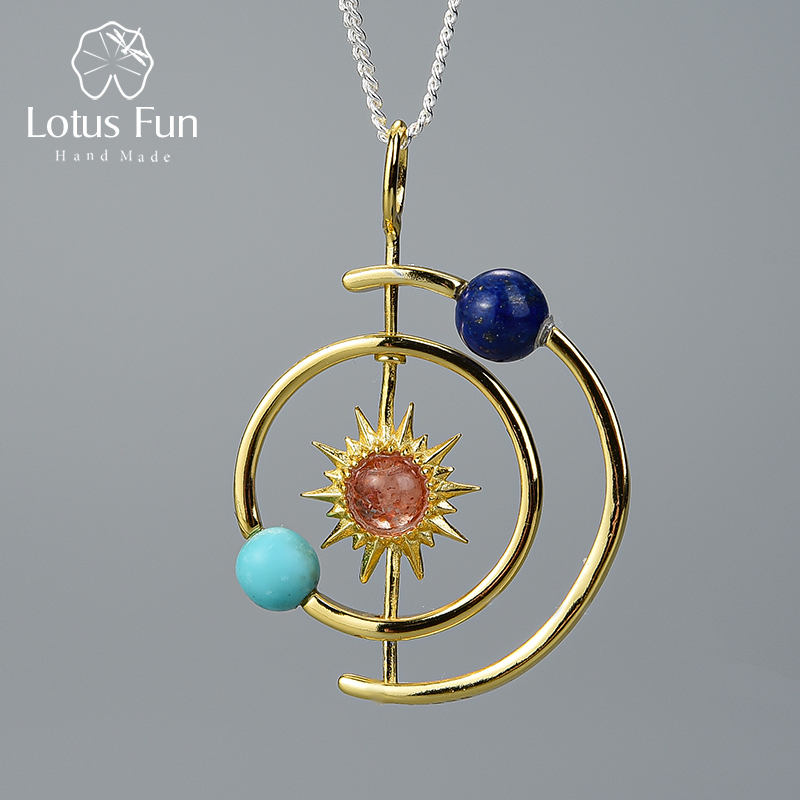 Lotus Fun Real 925 Sterling Silver Handmade Fine Jewelry 18K Gold Creative Solar System Pendant Without Necklace For Women Gift