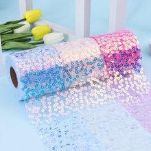 10Y/roll 60mm/80mm/100mm/120mm nastro di paillettes di colore per accessori per capelli fai da te accessori abbigliamento tessuto per cucire tessili per la casa decorazioni per matrimoni