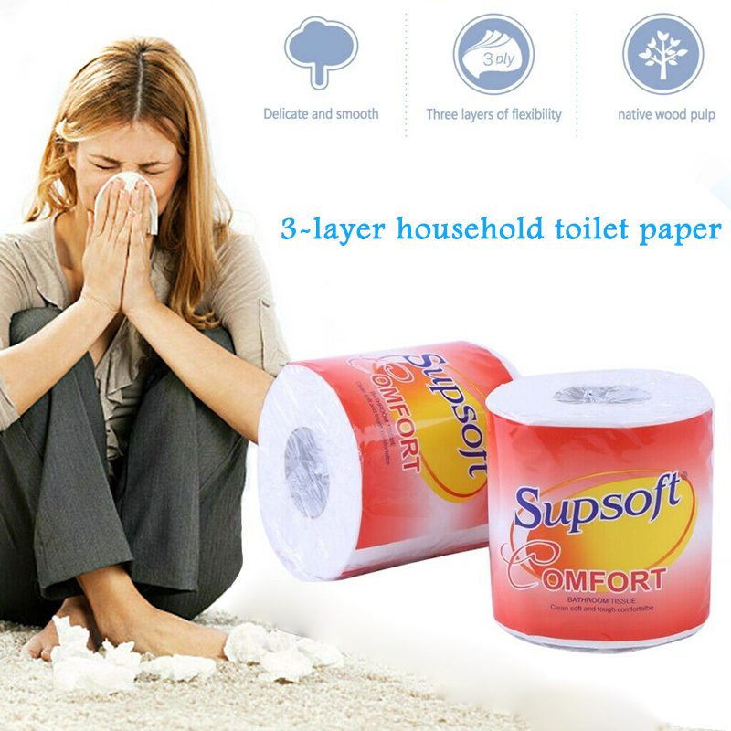 10 Rolls Toilet Paper Bulk Rolls Bath Tissue Soft 3 Ply Skin-friendly For Bathroom Home TT@88