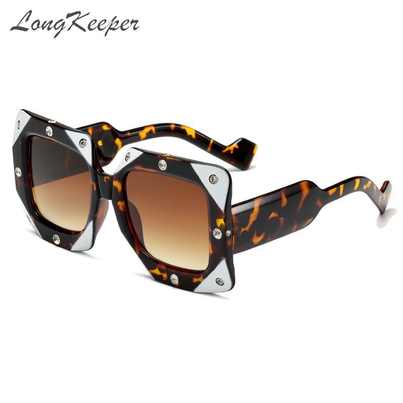 LongKeeper Italian Big Frame Square Diamond Sunglasses Women Men Vintage Oversized Sun Glasses Female Male Oculos De Sol Shades