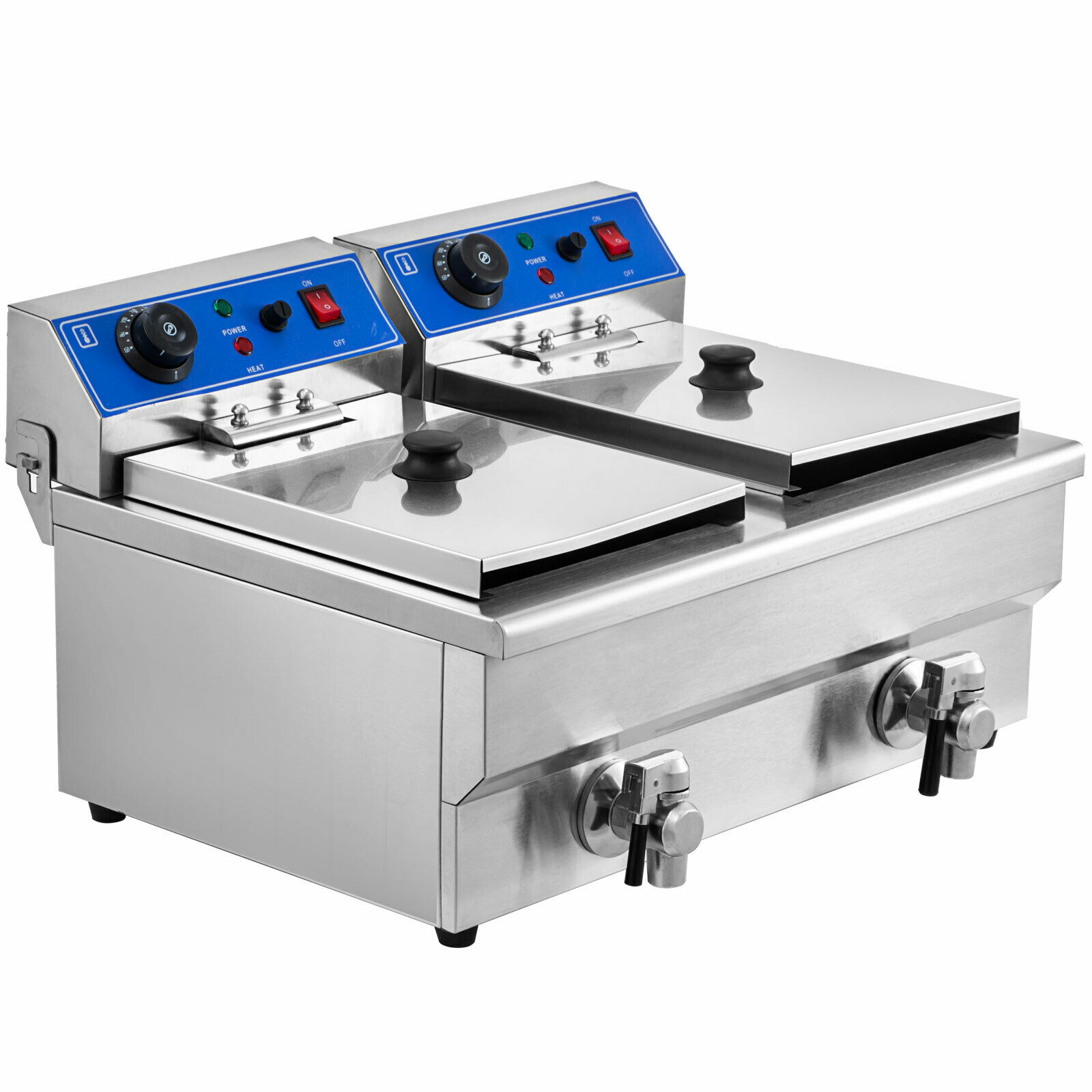6000W 24L Commercial Electric Deep Fat Chip Fryer Dual Tank Stainless Steel With  Free Shipping