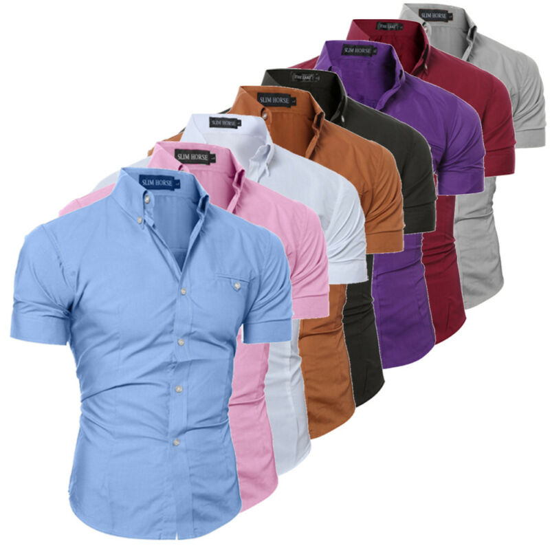 2019 Men Casual Short Sleeved Sold Shirts Slim Fit Male Social Business Dress Shirt Brand Men Clothing Camisas Para Hombre