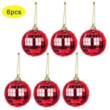 6 Pcs Reflective Mirror Ball Rotating Colored Lob Disco Party Hanging Decoration Christmas Tree Wedding Birthday Party Ornaments smkj e1hq christmas colored hair ball decorative snowman ornaments 10 pcs