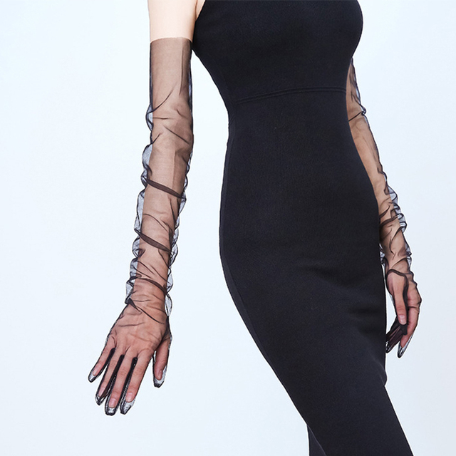 Summer Women Ultra-thin Sunscreen Driving Glove Hallowe 70cm Sexy Lace Gloves mesh yarn Long Full Finger Touch Screen Gloves K10 2